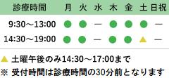 診療時間9:30~13:00 14:30~19:00 土曜午後のみ14:30~17:00まで 休診日:水曜、日曜・祝日